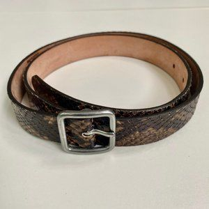 Gap Leather Snakeskin Belt Brown and Silver Medium